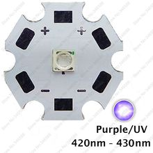 5pcs 3W 420nm to 430nm UV Ultraviolet Purple Color 3535 Epileds High Power LED Light Emitter Diode on 8/12/14/16/20mm Star PCB