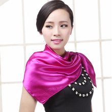 Women Fashion Autumn Summer Solid Color Large Square Silk Scarves Soft Muslim HIjab Headband Cheap Shawl 90*90cm(China)