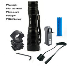 CREE XM-T6 Flashlight 6000Lumens LED Tactical Flashlight Aluminum Hunting Flash Light Torch Lamp +18650+Charger+Gun Mount(China)
