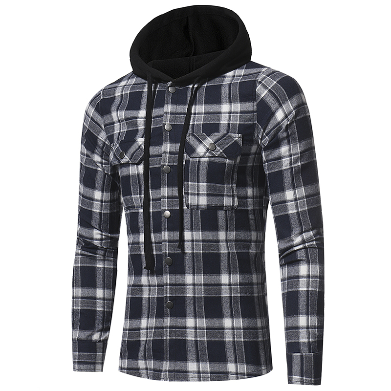 Plaid Shirt 2018 Autumn Fashion Shirts Men Casual Brand Clothing Men Shirt Long Sleeve Casual Lattice Hooded Camisa Social XXXL 8