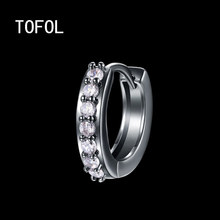 TOFOL Earrings Fashion Simple Inlaid Zircon Earrings Plated Gold Ear Clip Black Gun Plated Men Women Jewelry Gift(China)