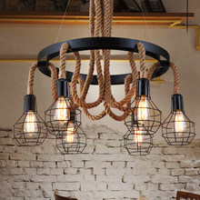 Luxury Retro rope Industrial pendant Lights edison Vintage Restaurant Living bar Light American Style nordic fixtures lighting