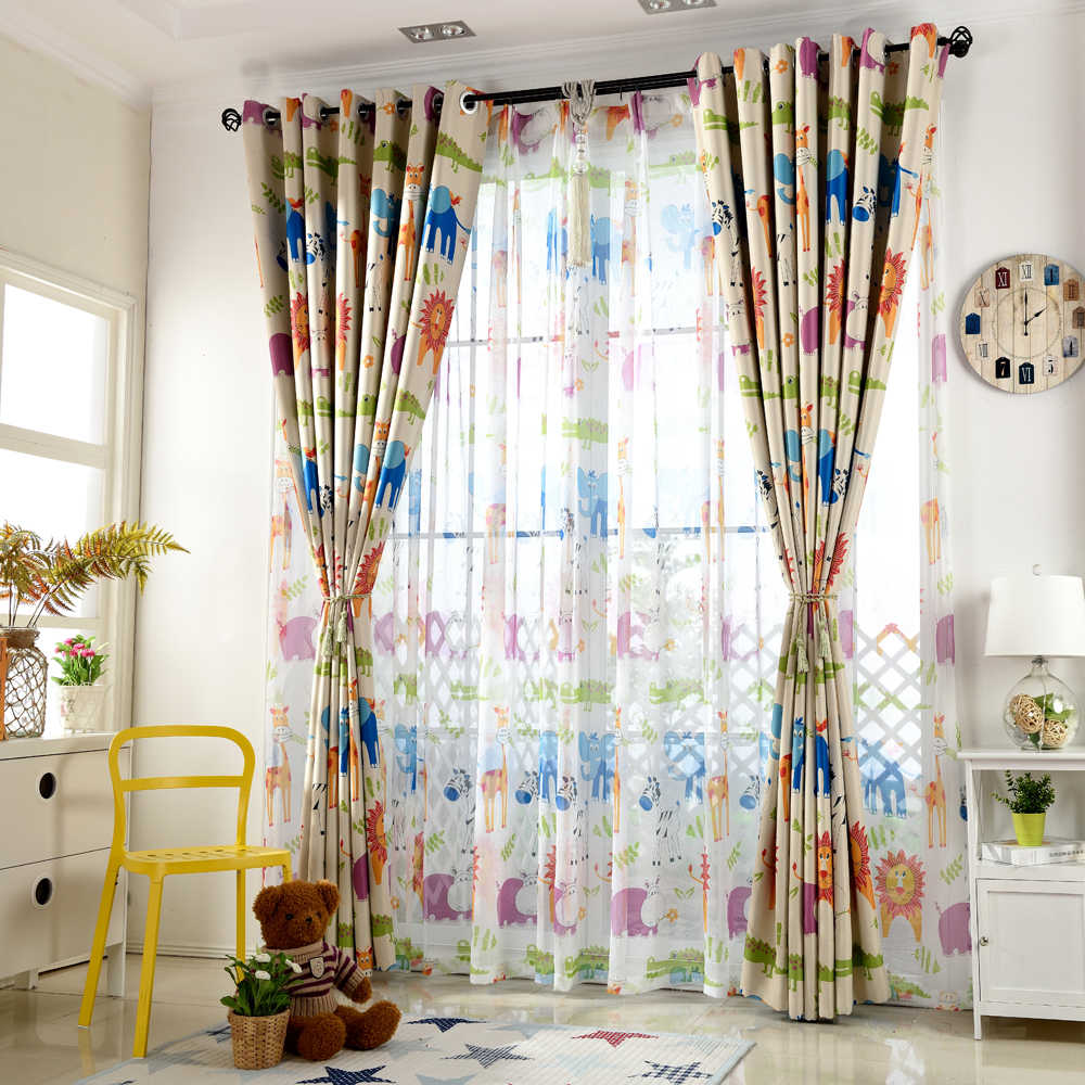 Blackout Curtains for Living Room Curtains for Children Boys Girls Animated Cartoon Lion Giraffe Elephant Cute Window Drapes