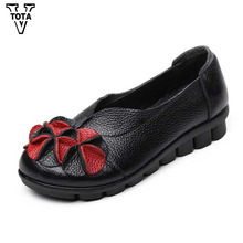 VTOTA Newest Genuine Leather Retro Women Shoes & Flats Woman Flower Soft Comfortable Round Toe Shoes Woman Vintage Shoes CSG(China)