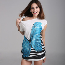 3Colors Summer Hot T-shirt Women Vivid Butterfly T Shirt Women Tops Tee Shirt Femme Fashion Casual Woman Clothing A226