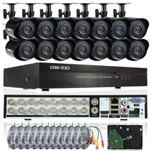OWSOO 800TVL Outdoor Security Camera System 16CH Full CIF DVR CCTV Kit 1T HDD HDMI Video Surveillance 16CH DVR 12 IR Cameras Set