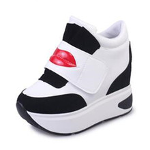 2017 Hidden Wedge High Heels 8cm Fashion Women's Increased Internal Casual Shoes For Women Platform Heels White Red Gray