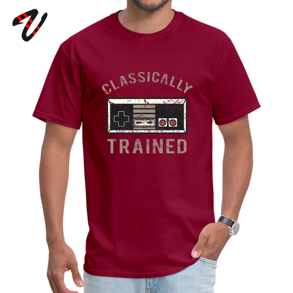 Gamer Trained 100% Cotton Men's Short Sleeve Tops T Shirt Fitness Tight Summer/Fall T-Shirt Casual Tops T Shirt Family O-Neck Gamer Trained 13417 maroon