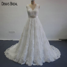 Buy Elegant Line Wedding Dresses V Neck Appliqued Sleeveless Sashes Vestidos De Novias for $250.00 in AliExpress store
