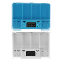 4 Day Intelligent Timing Daily Reminder Alarm Splitters Square Pill Container Cases Medicine Tablet Storage Case Medicine Holder(China)