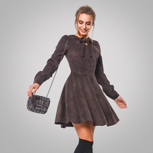 Velvet Dress 2018 Women's Autumn Winter Casual Long Sleeve Dresses Vintage Mini Christmas Simulation Of Deerskin Party Dress(China)