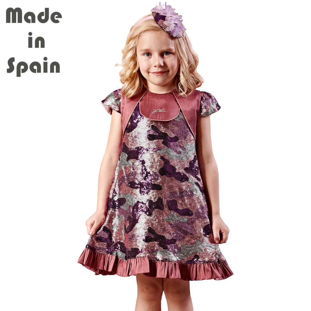 i-lollipop Luxury Flower Girl Dresses Children Clothes Kids Girl Dress Purple Fancy World Pailette Sequins<br>