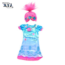 2017 Trolls Clothes Carnival Costumes Kids Dress For Girls Trolls Poppy Baby Dress Party Clothing Dress+Hair Accessories