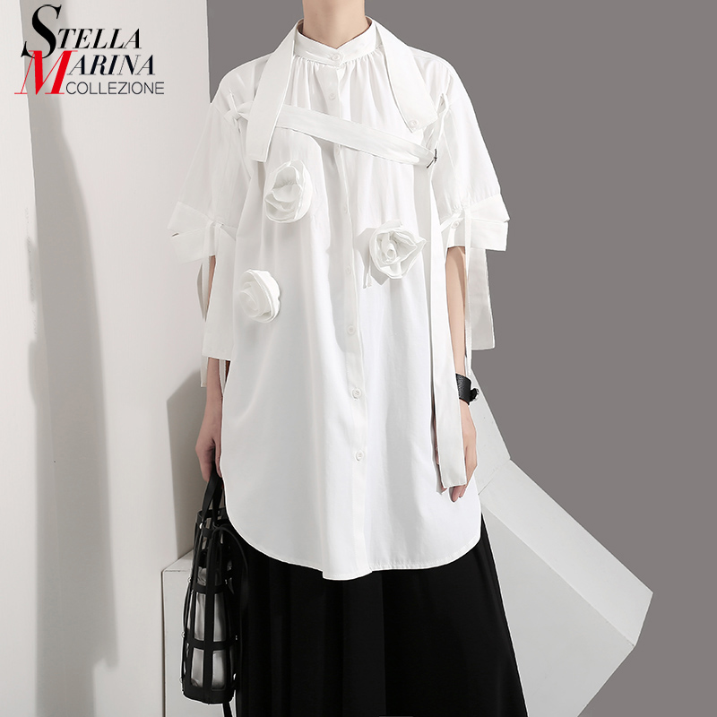 2019 Korean Style Women Summer Solid White Long Blouse Shirt Flower Appliques Female Overzied Casual Blouses chemise femme 5100