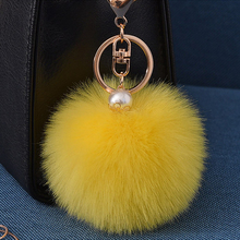 16 Color Fluffy Artificial Rabbit Fur Pompom Keychain Women Bag Pearl Bead Key Chain Pendant Ornaments Keyring Porte Clef Charm(China)