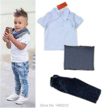 New Brand Summer 2-8 Years baby Boy hoodies Sets Kids Clothes Boys Costumes short Sleeve Polo Shirt+ jeans Children Clothing Set(China)