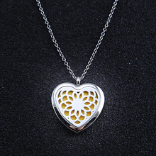Heart Pendant Perfume Locket Stainless Steel Hollow Perfume Necklace  Aromatherapy Essential Oils Long Perfume Necklace Jewelry