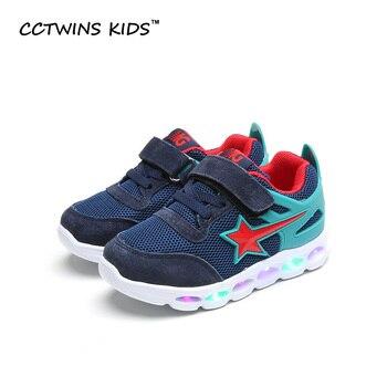 CCTWINS NIÑOS 2017 Primavera LLEVÓ Malla Negro Kid Boy Sneaker niños Bebé de la Manera de la Marca de Deporte de Niño Azul Claro Plana F1279
