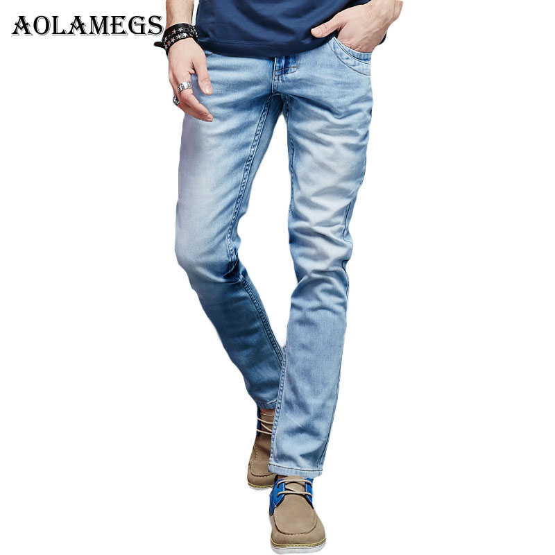 Aolamegs Men Denim Jeans Pants Men s Casual Slim Distressed Jeans Trousers Male Soft Yarn Micro Elastic Fashion Denim TrousersÎäåæäà è àêñåññóàðû<br><br>