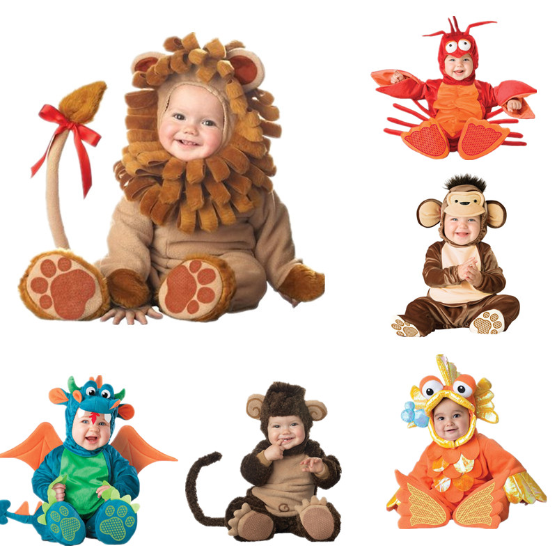 Independent Boys Girls Christmas Halloween Costumes Infant Baby Girls Rompers Jumpsuits Animal Lion Cosplay Toddlers Clothes Home