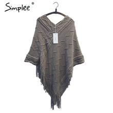 Simplee batwing sleeve tassel hem knitting cloak sweater 2015 women fall fashion tricot cape poncho Autumn winter jumper