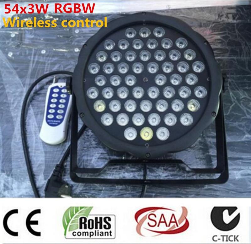 50m Wireless remote control 54x3W RGBW mini LED Flat Par Wash Light For Event,Disco Party DJ dmx light<br>