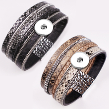 New Fashion Bohemia Snake texture Magnetic snap button jewelry bracelet high quality GJ5577 (fit 18mm snaps) BOBOSGIRL(China)