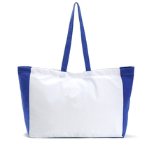 Nature White and Blue Canvas Promotional Grocery Tote Bag available for Custom bag