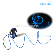 Free Shipping Rave Clothing Party Decor 2.3mm 1M Blue EL Cable Thread Neon Led Strip Light with Converter as Holiday Lighting(China)