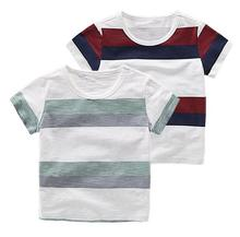 Camp Kids 2017 New 2-10Y 100% Cotton Summer Cotton Stripe Short Sleeve T-shirt Boys Clothing O-neck Children T Shirts