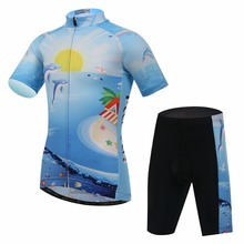 Kids Bike Clothing Sea Style Summer Children Cycling Jersey Set Padded Road Bicycle Sportwear Short Sleeve Jacket And Shorts