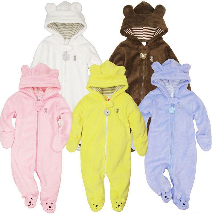 XJ-11, Bear, baby romper, winter soft coral fleece long sleeve baby suit, 4 colors.<br><br>Aliexpress