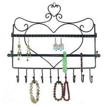 Jewelry Display Wrought Iron Wall Hhanging Hook Earring Rack Warrings Shelf Necklace Bracelet Box For Store Display FG