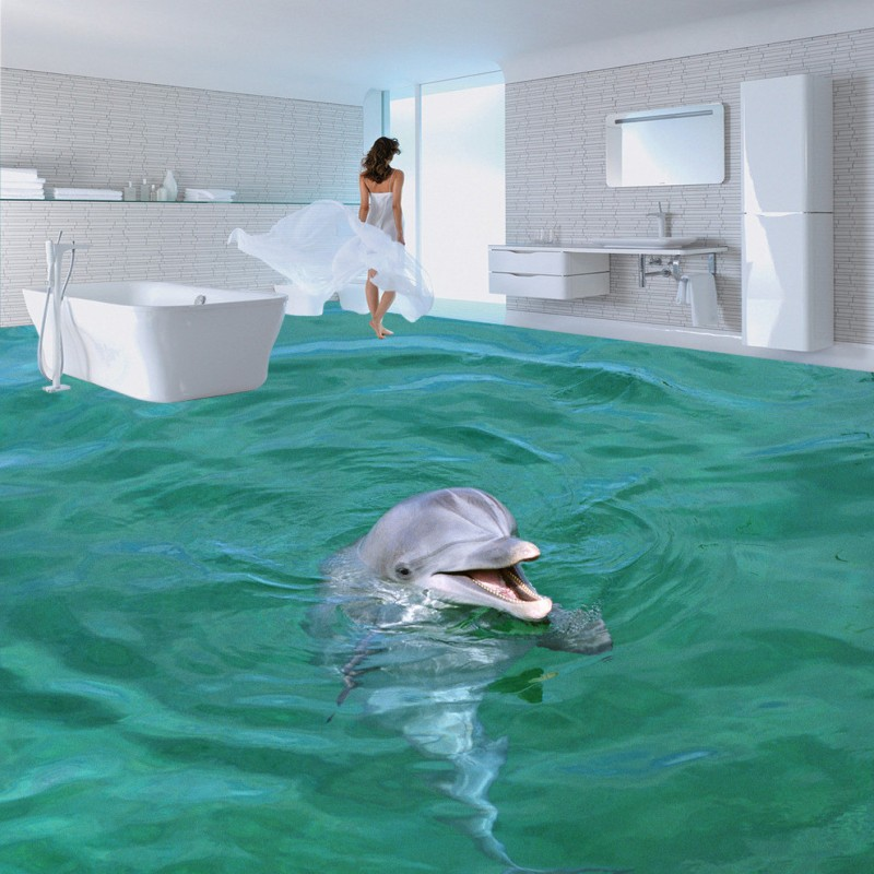 Free Shipping Lovely surface dolphin 3D solid floor stickers wallpaper bedroom office study lobby waterproof floor mural<br>