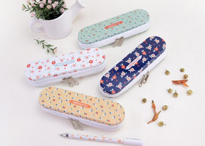 10pcs/lot New Vintage Flower series Zipper Tin pencil case Pencil box Zakka styles office and school supplier wholesale(China)