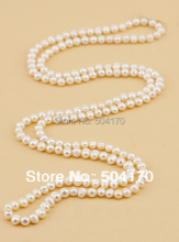 "Natural Freshwater Pearl 60""inches Long Sweater Chain Pearl Necklace 8MM Irregular White Potato Pearl Beaded Jewelry  FP515"