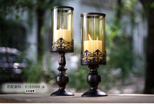 2PCS/set iron metal candle holder set with glass cover pillar candle stand for home holiday decoration gold + black 2090
