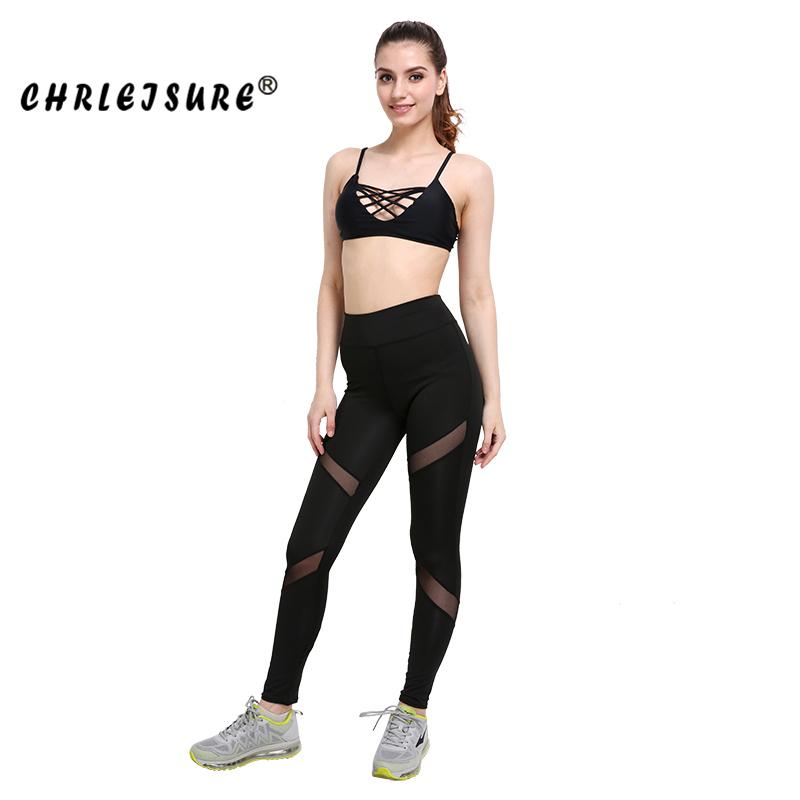 CHRLEISURE Sexy Women Leggings Gothic Insert Mesh Design Trousers Pants Big Size Black Capris Sportswear New Fitness Leggings 14