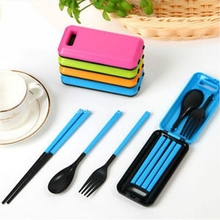 3 Sets Portable Travel Adult Kids Folding Spoons Camping Cutlery Spoon Fork Chopsticks Food Container Dinnerware KCS(China)