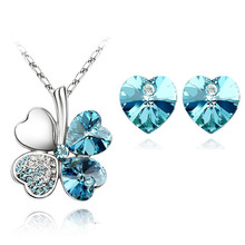 floating heart Wholesale quality Crystal Clover 4 Leaf heart Pendant Necklace Earrings fashion jewelry Set 9 colors(China)