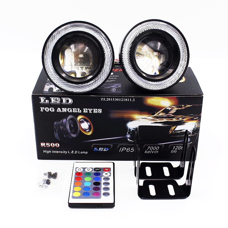 2X IR Control RGB Colorful LED COB Fog Angel Eyes Head Lamp 3.5 Inch External Car Styling DRL Daytime Running Lights With Remote<br><br>Aliexpress