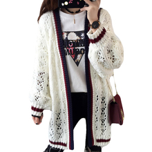 2017 Spring Women Long Sweater Coat Loose Long Sleeve Knitted Cardigans Female Hollow Out Crochet Plus Size Outwear Autumn XH121