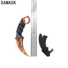 Damask Brand CSGO Stainless Steel Camping Tools Professional Camping Karambit Knife Orange Scenery Survival Outdoors Knives(China)