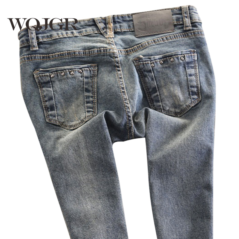 WQJGR Spring Female Low Waist Women Jeans Pencil Pants Stretch Pants Slim Korean Tide Jeans For Women