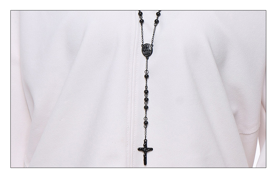 Meaeguet 76cm Chain Black Stainless Steel Bead Chain Rosary Jesus Christ Cross Pendant Long Charm Necklace For Men (2)