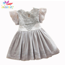 Belababy Princess Girl Dress 2017 Summer Children Lace Flower Vestidos Para Ninas Kids Petal Sleeve Party Dresses For Girls