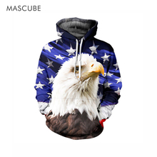 MASCUBE USA Flag Sweatshirt Men/Women Hoodies Hooded 3d Print Stars Eagle Cap Hoodies With Front Pockets Tracksuits