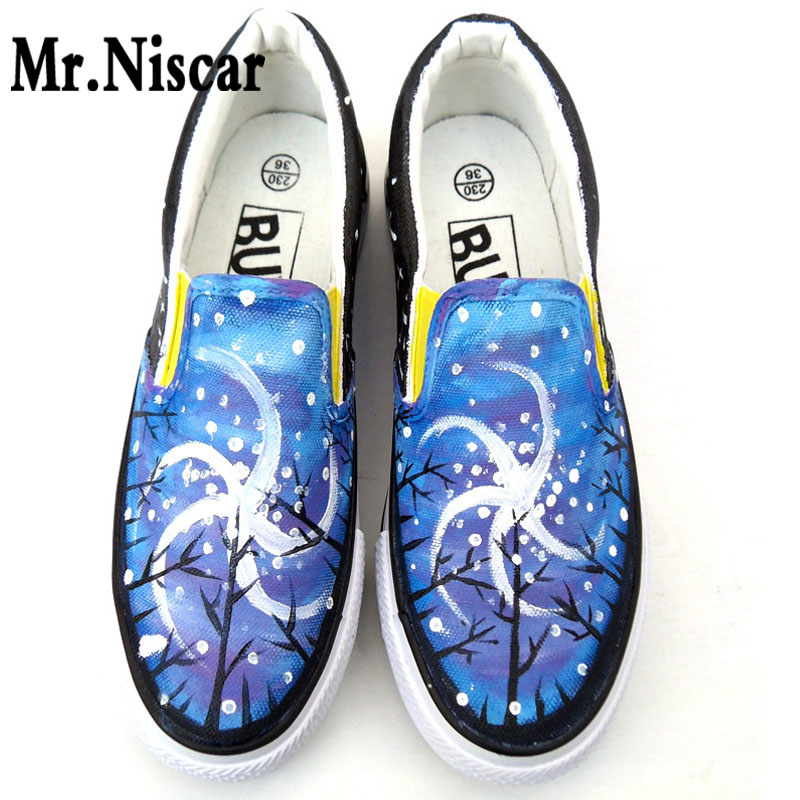 LEO Women Luminous Platform Shoes Galaxy Star Sky Pattern Colorful Hand Painted Canvas Shoes for Woman Girls Graffiti Shoes<br>
