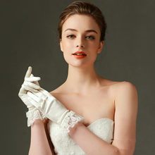 Short Satin Elegant Lace Edge Wedding Bridal Gloves with Bow Ivory Cheap High Quality Have Finger New Style