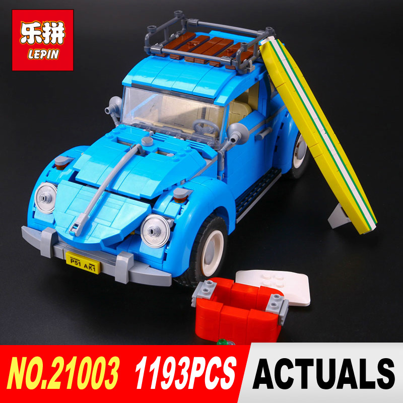 New LEPIN 21003 1193Pcs Creator Series City Car Beetle model Building Blocks Compatible 10252 Blue Technic children toy gift<br>